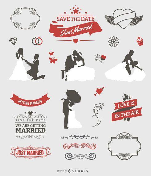 Conjunto gráfico de boda