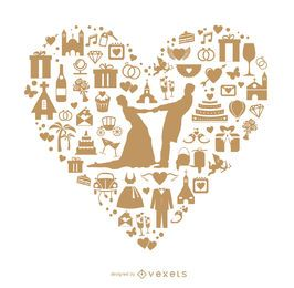 Corazón de boda hecho con iconos.