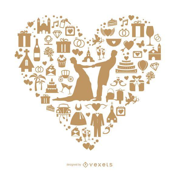 Coração de casamento feito com ícones