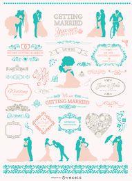 Conjunto de gráficos de boda colores suaves