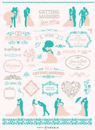 Soft Colors Wedding graphic set
