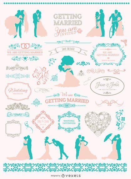 Soft Colors Wedding graphic set