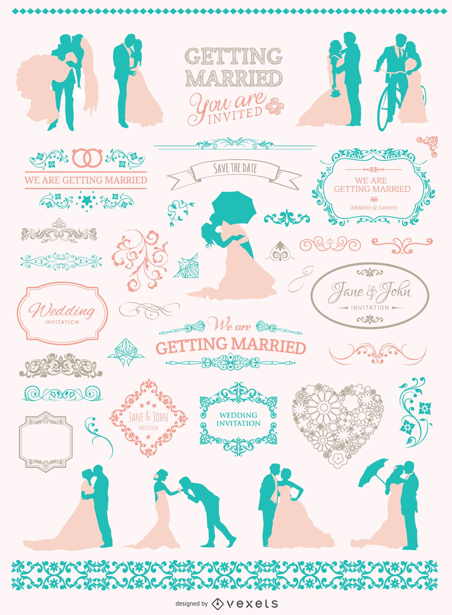 Weiche Farben Hochzeit Grafiksatz