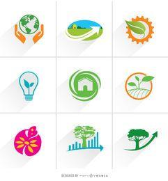 Ícones de logotipo de ecologia