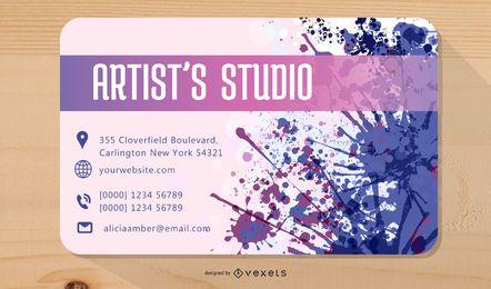 Cartão de visita colorido do artista dos Splatters
