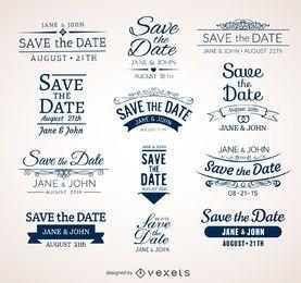 Hochzeit Speichern Sie die Datumsabzeichen