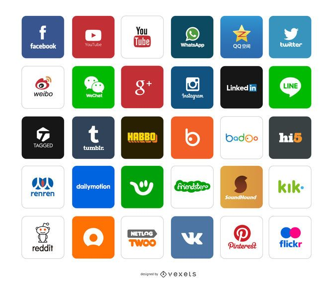 Ícones e logotipos do aplicativo social
