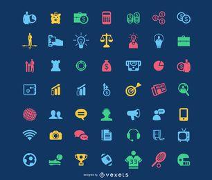 Pacote de ícones coloridos planos funky