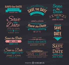 Salve os emblemas de giz de data