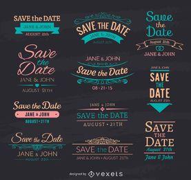 Speichern Sie die Datums-Kreide-Embleme