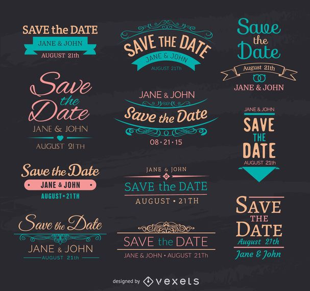 Save the date chalk emblems