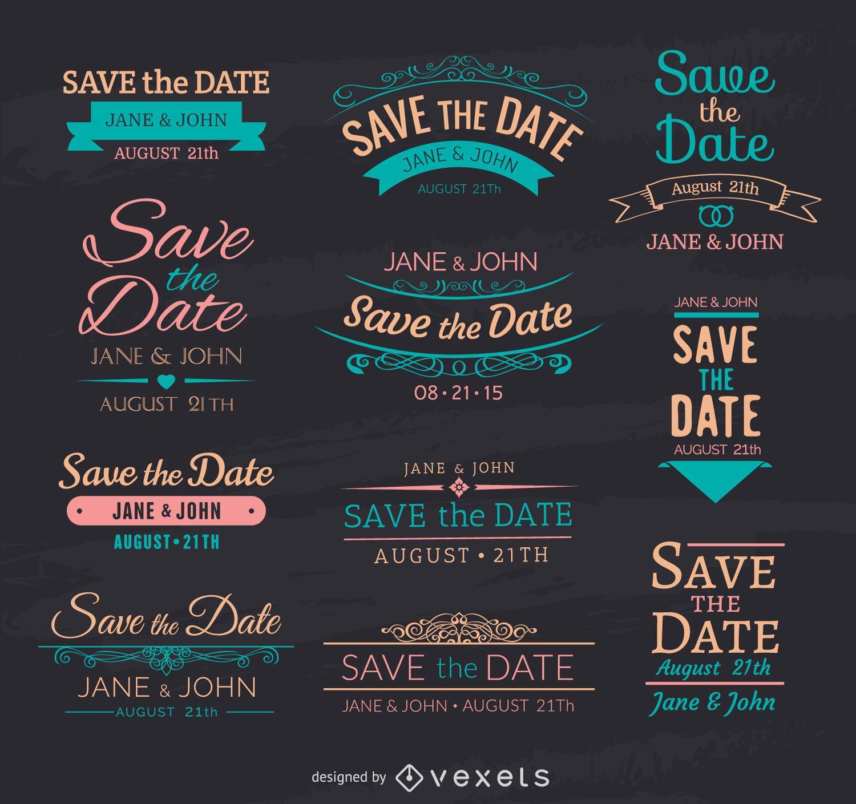 Speichern Sie die Datumskreide-Embleme