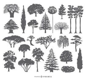 Colección de 27 siluetas de árboles