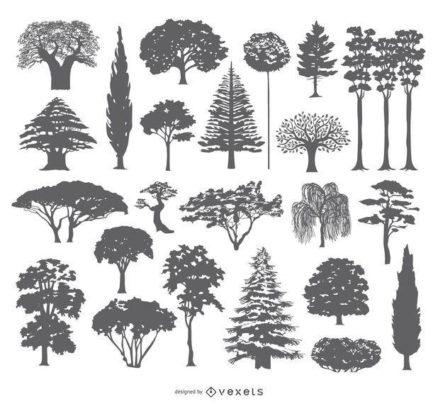Colección de 27 siluetas de árboles.
