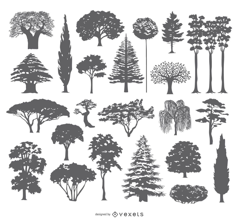 Diseño de colección de siluetas de árboles