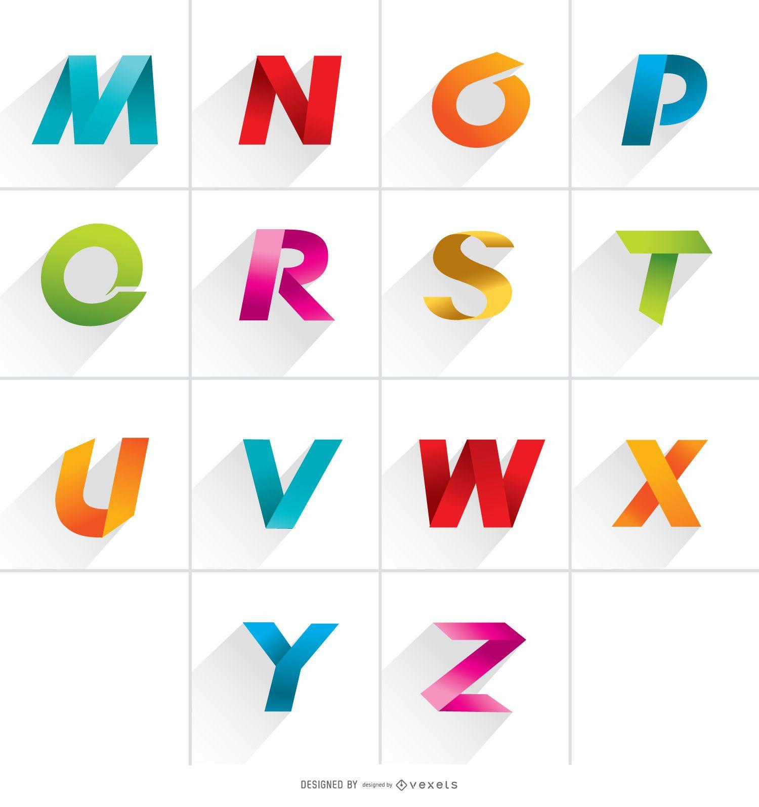 Letras do logotipo de M a Z