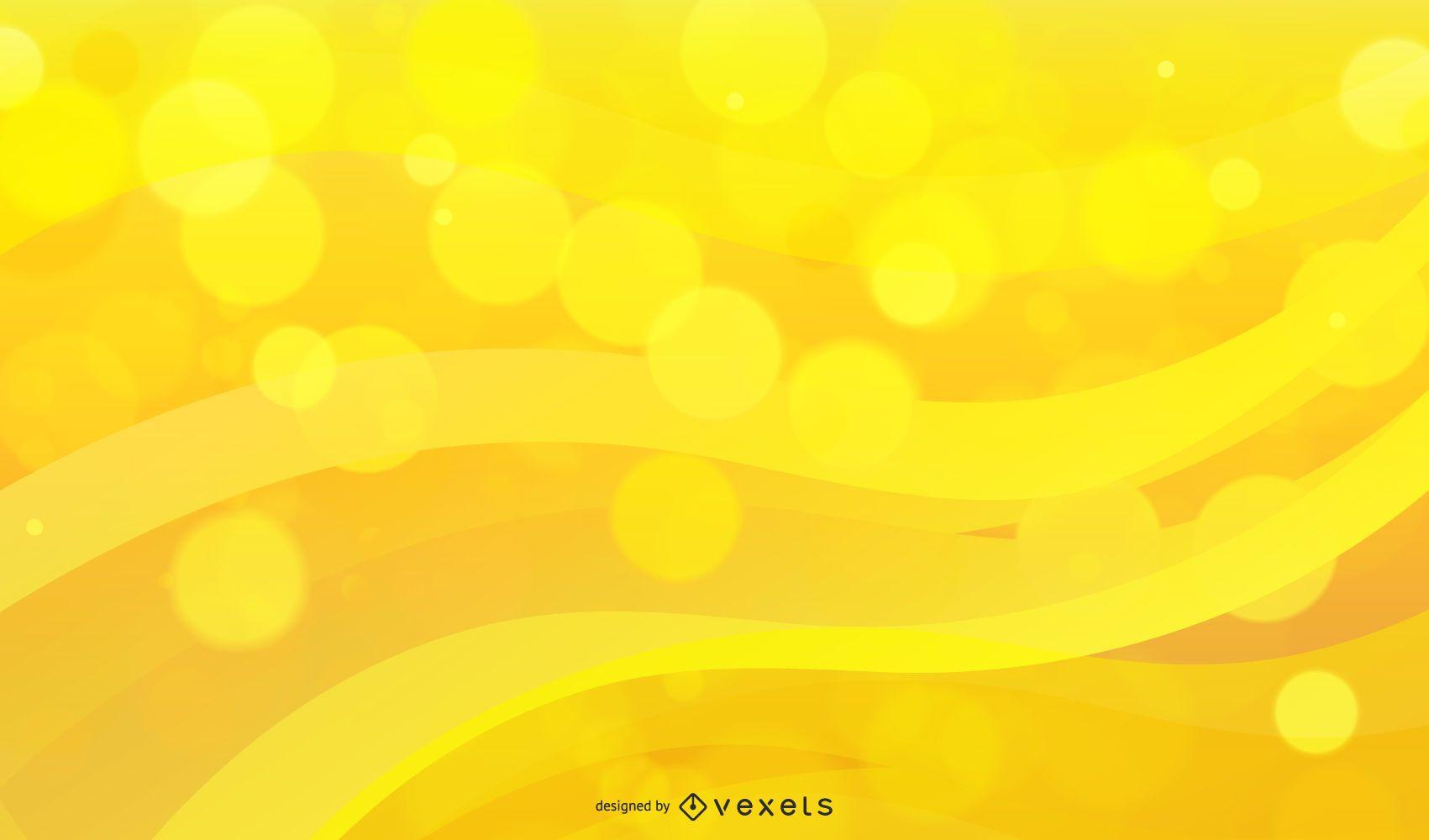 Shiny Bokeh Wave Yellow Background