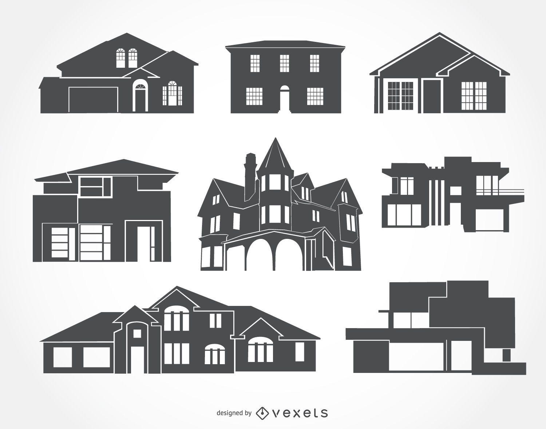 Coleção de silhuetas de casas