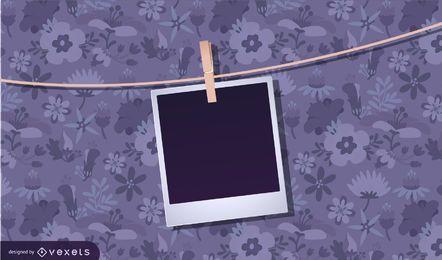 Suspensão de foto em polaroid em branco