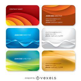 Conjunto de plantillas de tarjetas de visita onduladas