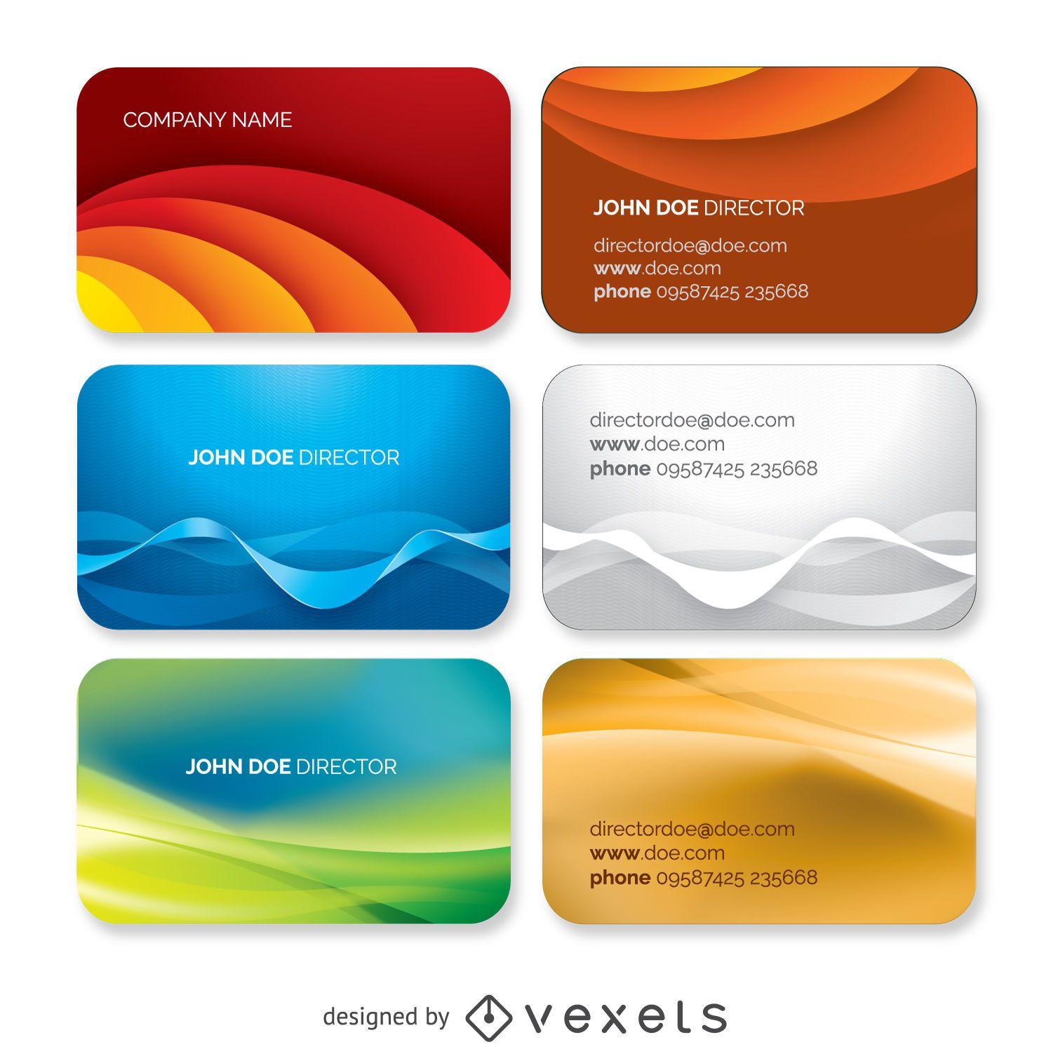 Conjunto de plantillas de tarjeta de visita ondulada