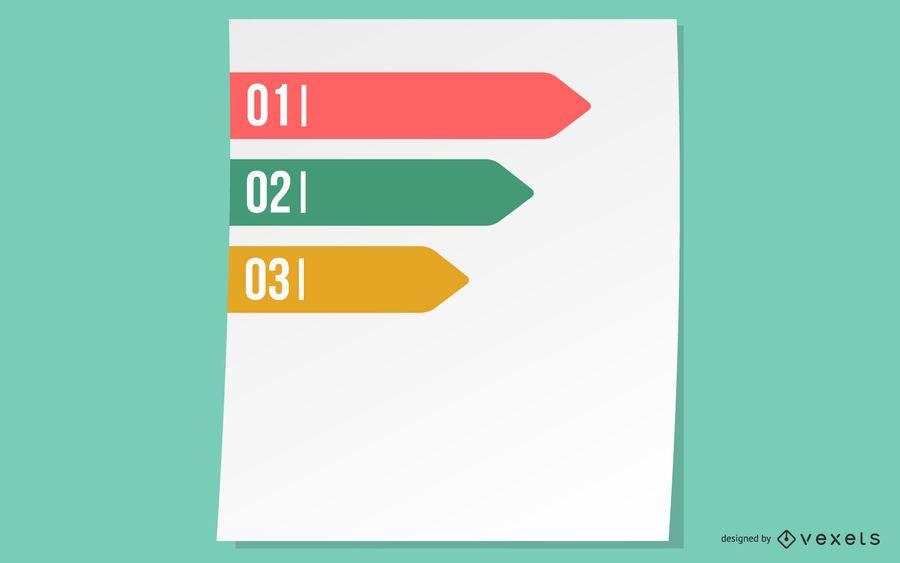 Infografía de progreso de la cinta etiquetada