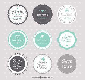 Speichern Sie das Datum Hochzeit Abzeichen