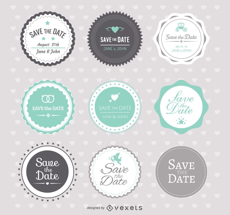 Reserva las insignias de la boda de la fecha