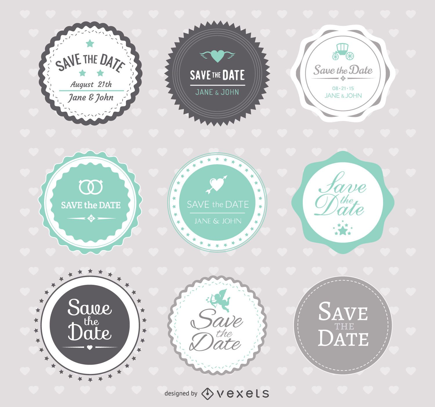 Save The Date Wedding Badges Vector Download