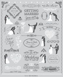 Hochzeits-Grafik-Set