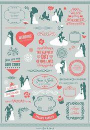 Pacote de elemento de convite de casamento