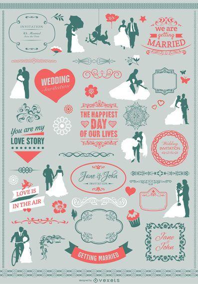 Paquete de elementos de invitación de boda