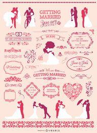Conjunto de elementos gráficos de boda.