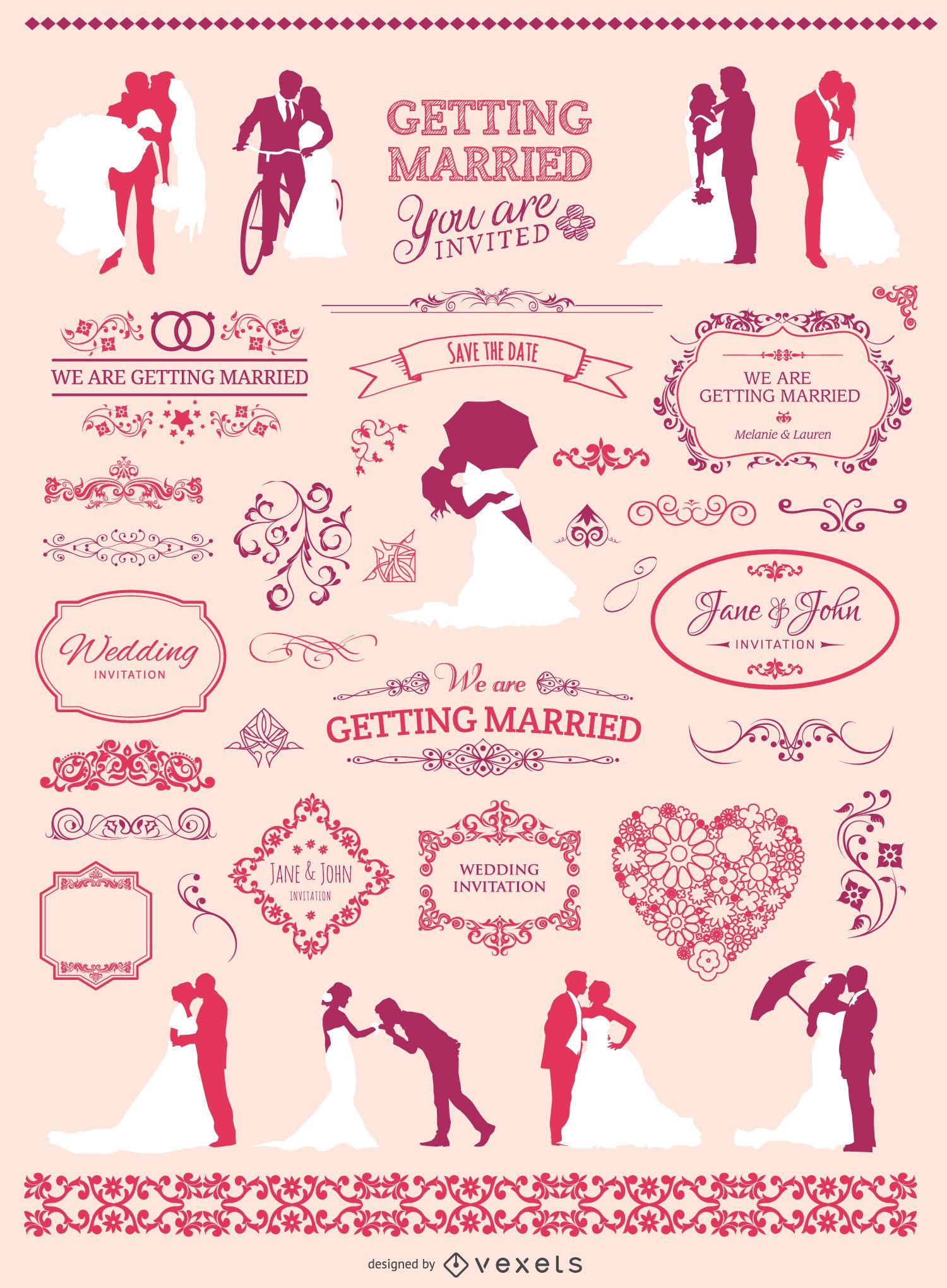 Conjunto de elementos gr?ficos de boda