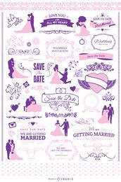 Invitación de la boda conjunto gráfico