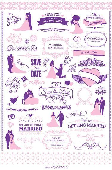 Conjunto gráfico de invitación de boda