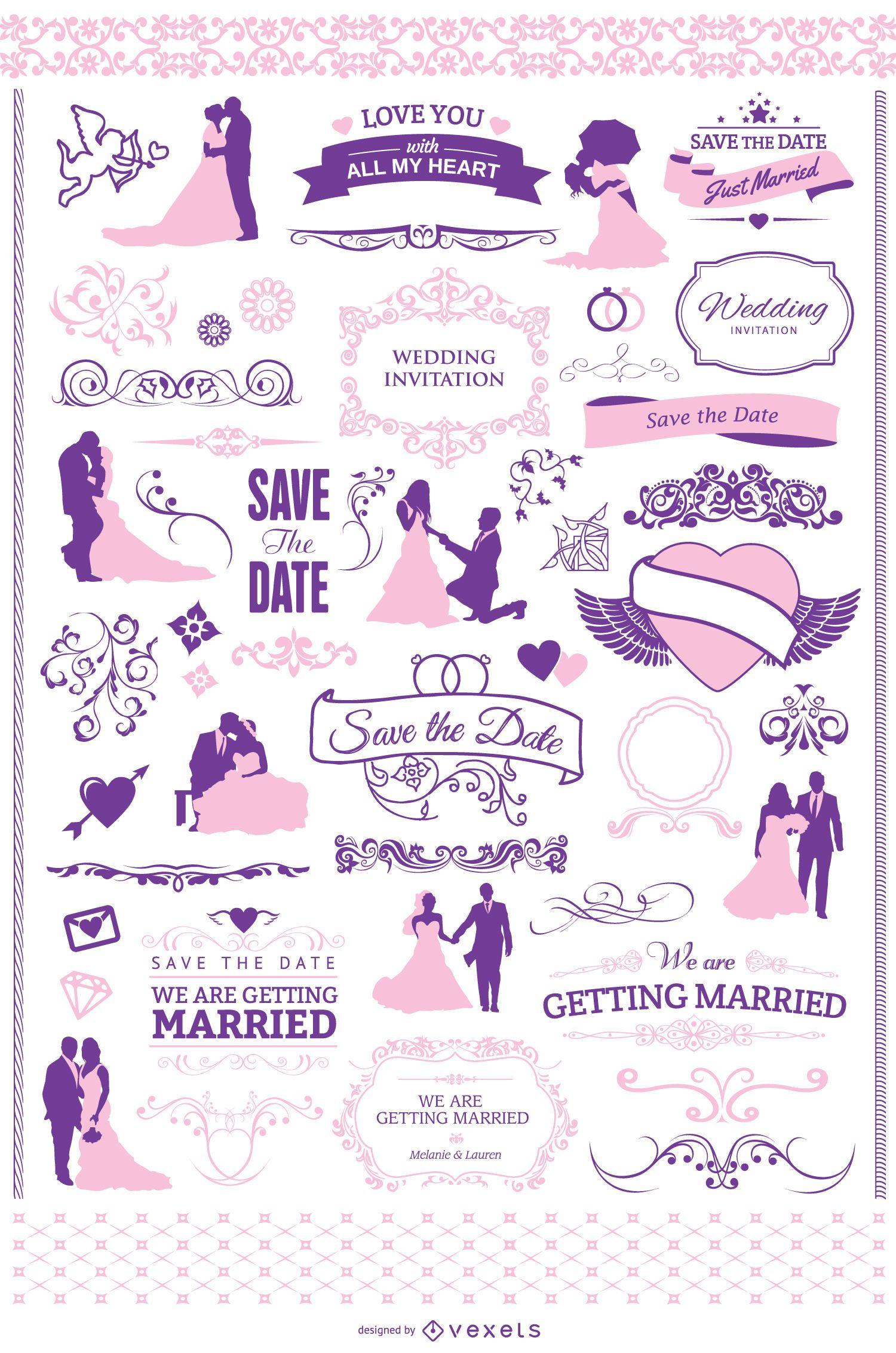Wedding invitation graphic set