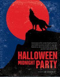 Poster vintage da festa do lobo do Dia das Bruxas