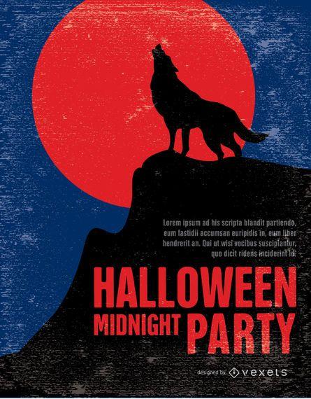 Cartaz do partido do lobo do Dia das Bruxas do vintage