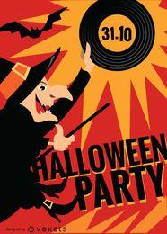 Cartaz do partido da bruxa do Dia das Bruxas
