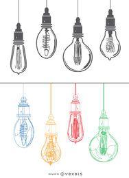 Edison lâmpadas coloridas luz