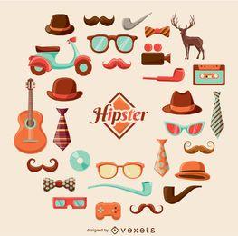Conjunto gráfico de dibujos animados de hipster