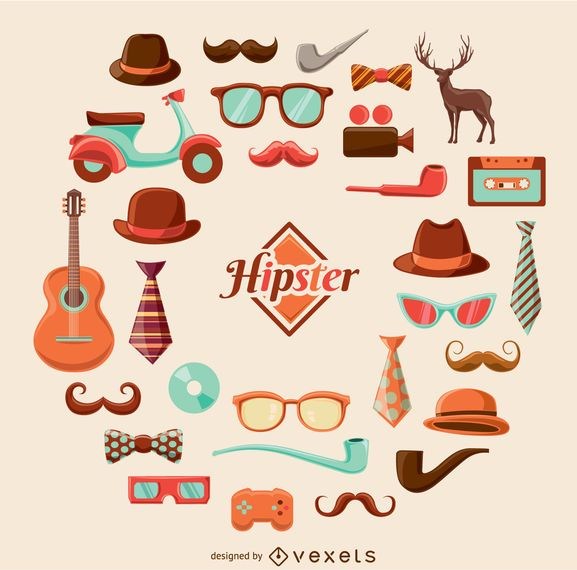 Conjunto gráfico de hipster dos desenhos animados
