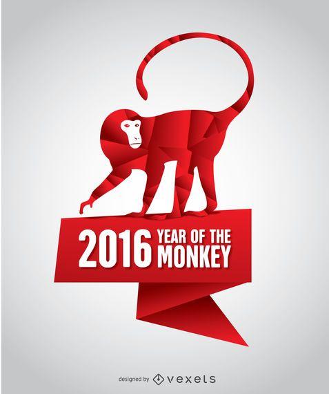 Ano de 2016 do cartaz do macaco