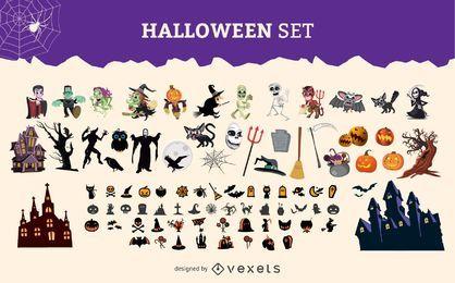 Conjunto de gráficos de personajes de Halloween