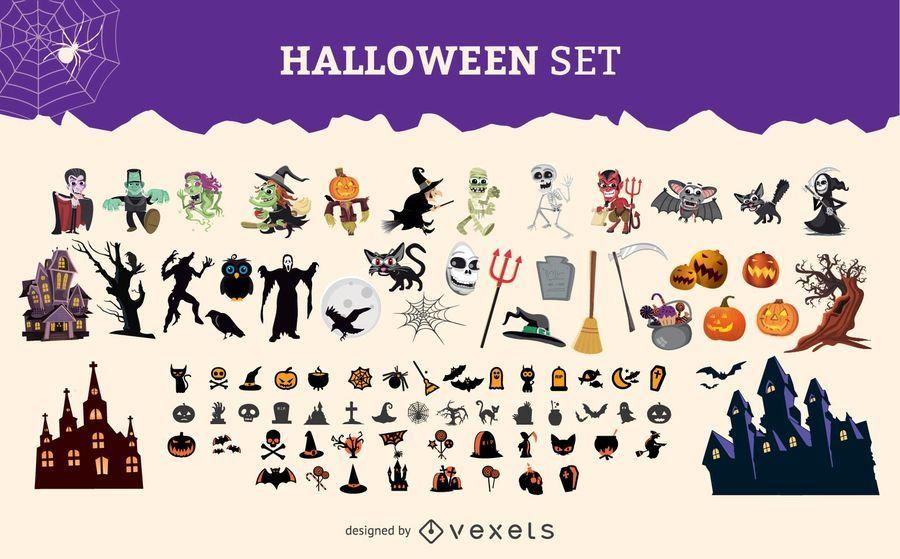 Conjunto gráfico de personagens de Halloween
