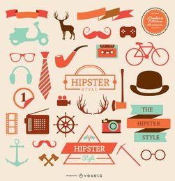 Conjunto de iconos de elementos de hipster