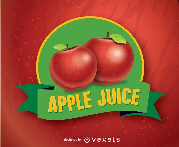 Insignia de ilustración de fruta de manzana