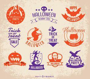 Conjunto de insignias de halloween