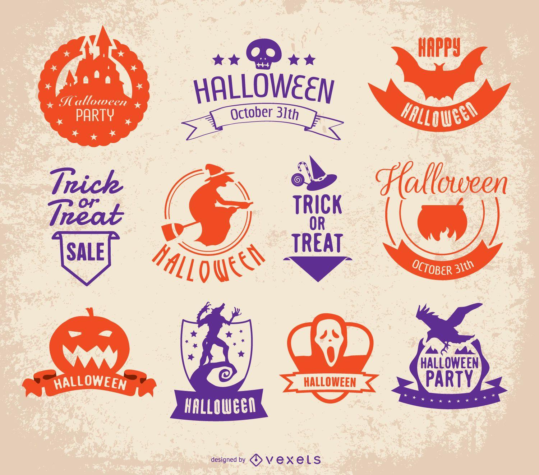 Halloween badges set